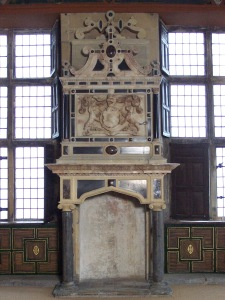 The Star Chamber in the Little Castle at Bolsover Castle: fireplace and panelling