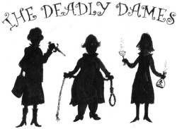 Three of the Dames in silhouette with weapns