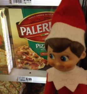 Tucker the merry elf is doing some comparison shopping on supplies.