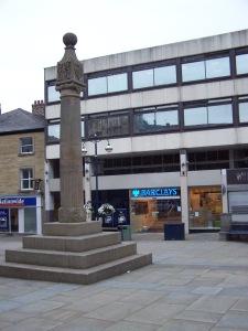 Huddersfield Market Cross, from where Emmeline Pankhurst addressed the crowds