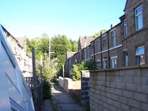Looking down the terrace where Dora Thewlis lived with her family