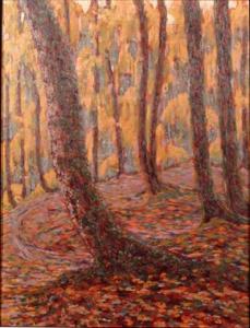 bosco con colori autunnali, dipinto. 2 dia 13x18 (D02.16.01-02), carige