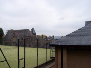 Looking across the hockey pitches to the Gym (School House hidden behind)