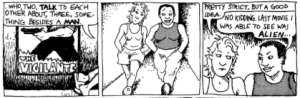"Excerpt from ""The Rule"", from the comic Dykes to Watch Out For,"" Alison Bechdel."