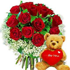 V day flowers and bear