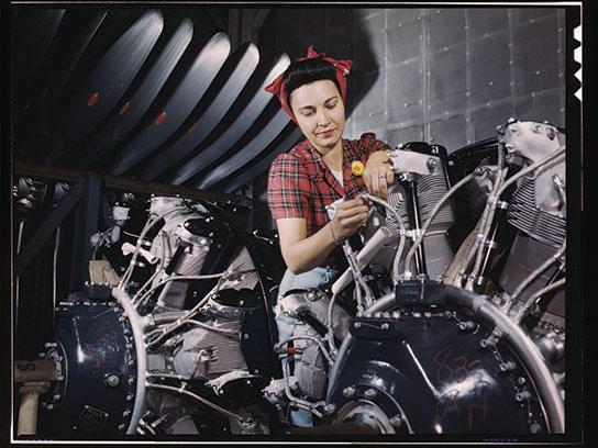R Rosie working on engine
