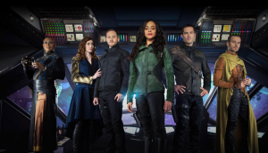 Killjoys characters, from left: Pree, Pawter, Johnny, Dutch, D'Avin, Alvis.