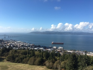 Overlooking Astoria. That's the state of Washington, that land mass in the distance. Photo by Andi Marquette.