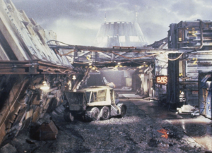 Hadley's Hope colony on LV-426. The structure in the background is the atmosphere processing plant, and the alien hive.