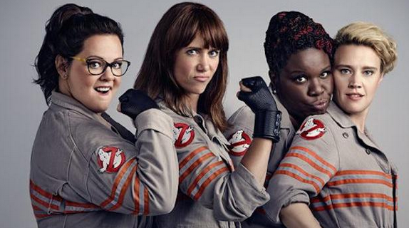 New crew! From left: Abby (Melissa McCarthy); Erin (Kristen Wiig); Patty (Leslie Jones); Holtzmann (Kate McKinnon)