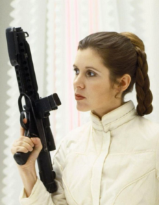 Princess Leia, wearing the costume indicative of the frozen rebel base on Hoth in the Empire Strikes Back (source)