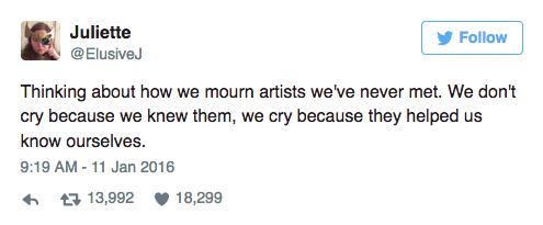 This Tweet went viral after the death of David Bowie earlier this year. It resurfaced with Fisher's death.