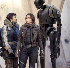 K-2SO with Jyn and Cassian. I wanted you to get a sense of his size in relation to humans.